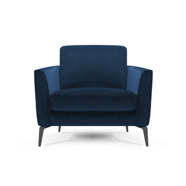 modern navy velvet arm chair with angled metal legs