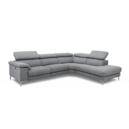 Modern grey fabric power reclining right hand facing sectional with metal feet