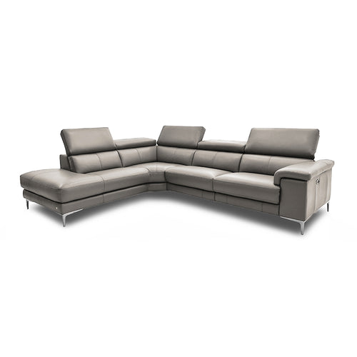 modern taupe leather reclining left hand facing sectional with metal leg