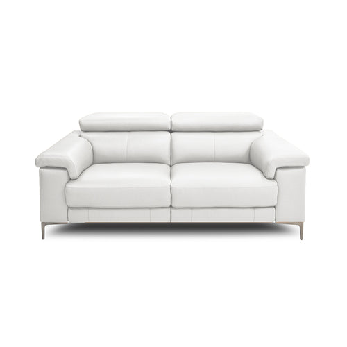 Modern Sneaker White Leather Reclining Sofa with USB and Metal Legs