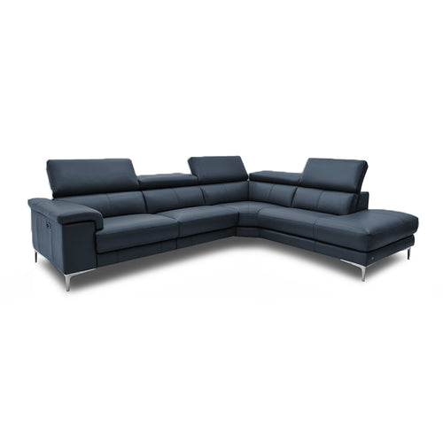 modern navy leather reclining right hand facing sectional with metal leg
