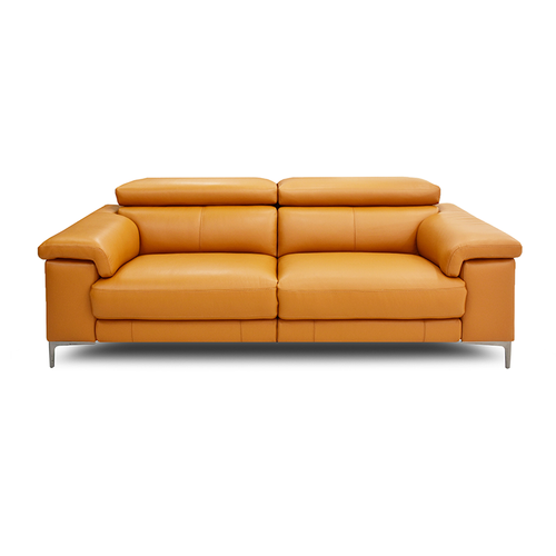 Modern Orange Leather Reclining Sofa with USB and Metal Legs