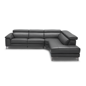 modern dark grey leather reclining right hand facing sectional with metal leg