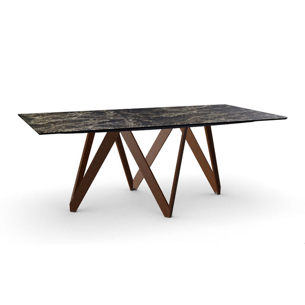 Modern Ceramic and Glass Dining Table with Metal V Base made in Itlay