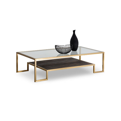 modern rectangular coffee table with glass top solid elm wood shelf gold finished stainless steel frame