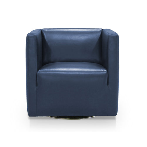 dark blue navy modern leather swivel arm chair