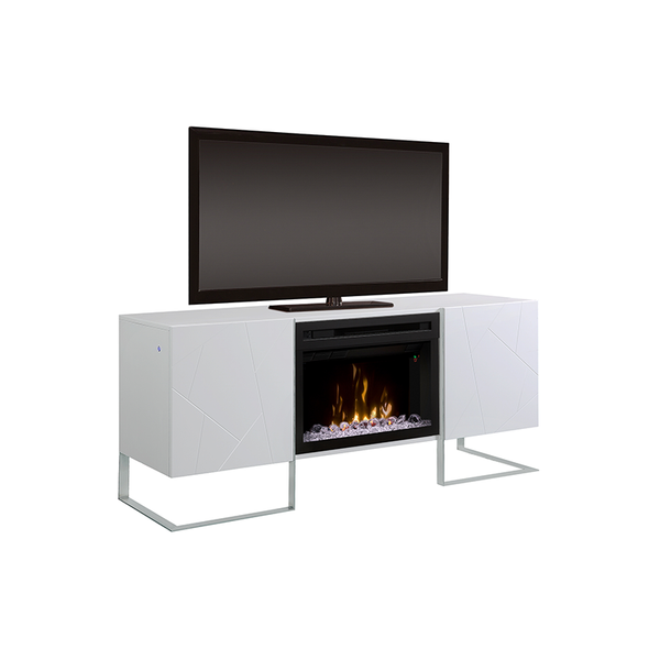 Modern gloss white low profile media console fire place with acrylic ice firebox and metal frame