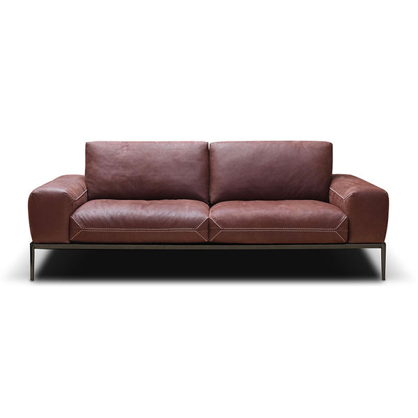Modern Top Grain Italian Leather Sofa in Tobacco Brown with Contrast Stitching and Bronze Metal Base