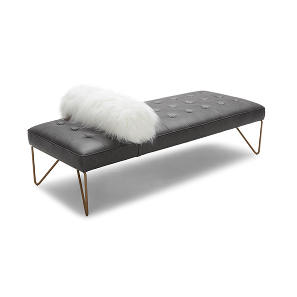 modern tufted dark grey bonded leather bench with headrest and brass hairpin leg