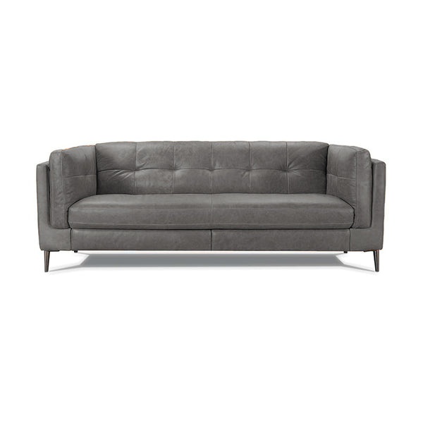 modern grey top grain button tufted leather sofa with metal leg