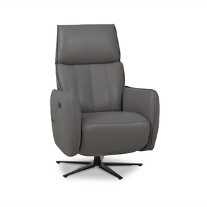 modern sunflower grey top grain leather power reclining TV Chair with black star base