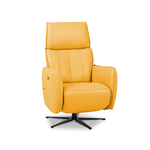 modern sunflower yellow top grain leather power reclining TV Chair with black star base