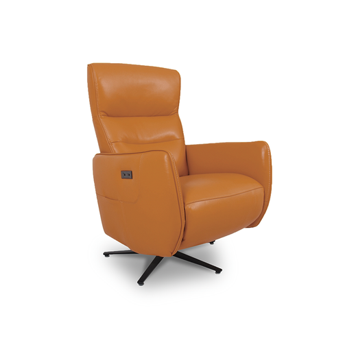modern orange top grain leather power reclining TV Chair with black star base