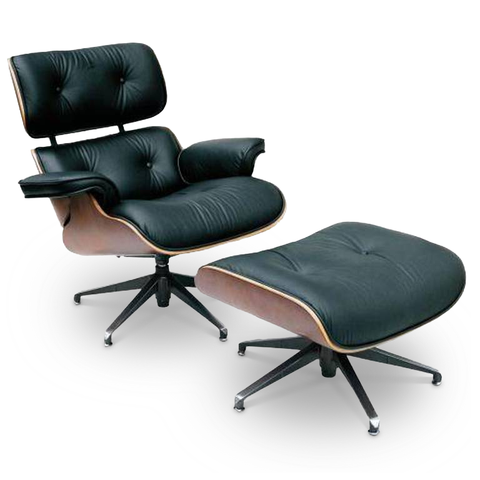 Black modern leather office chair and ottoman with walnut