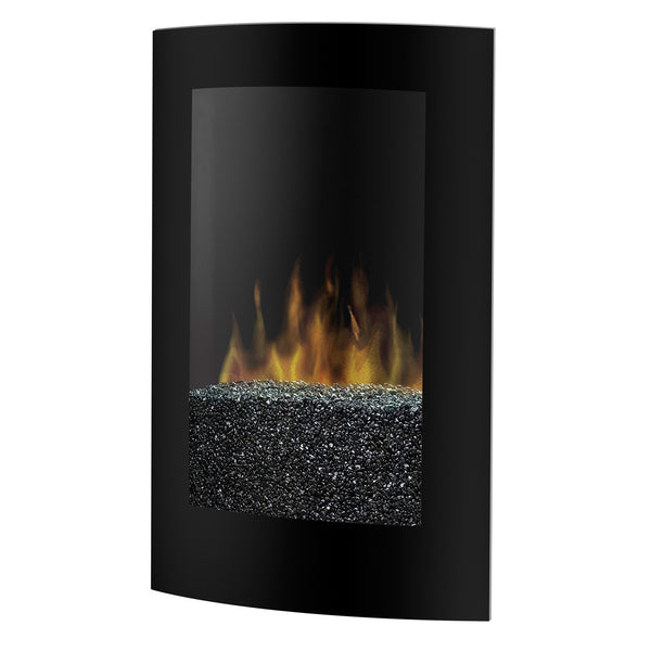 Black modern electric wall mount fireplace