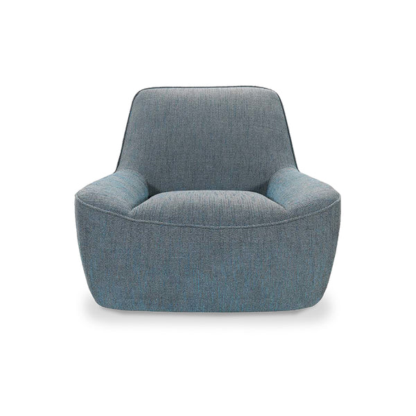 Modern Light Blue Grey Fabric Occasional Arm Chair