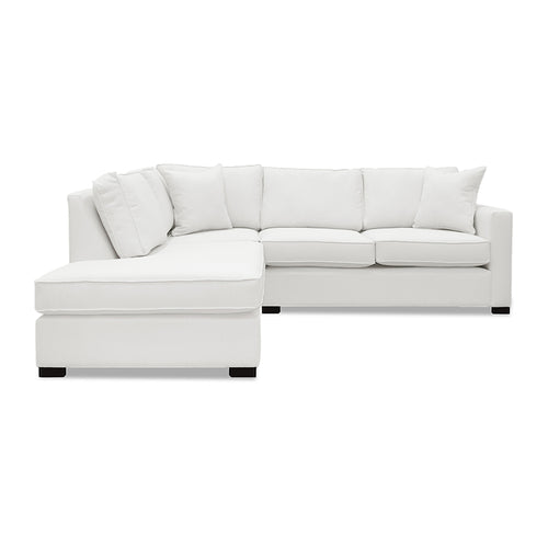 Modern Cream Fabric Sofa Chaise Sectional with toss cushions