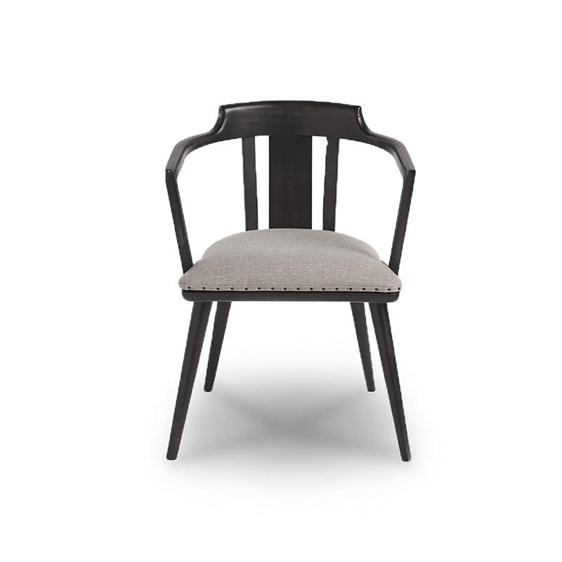 modern barrell back dining chair in fabric and metal with nailhead trim