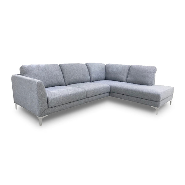 modern dark grey fabric sectional with chrome feet right hand facing