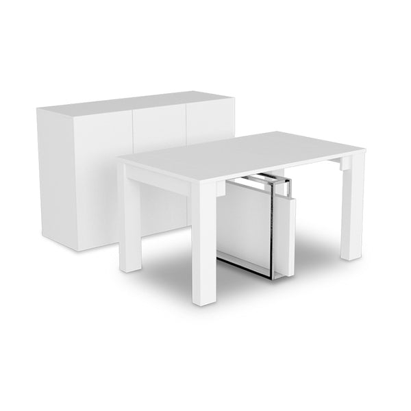 modern Extendable Dining Table with Buffet in White Finish