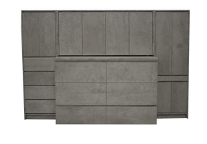Grey modern cabinet bed and media unit, bed stored