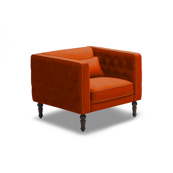 modern orange red velour tufted arm chair with kidney pillow and turned wood leg