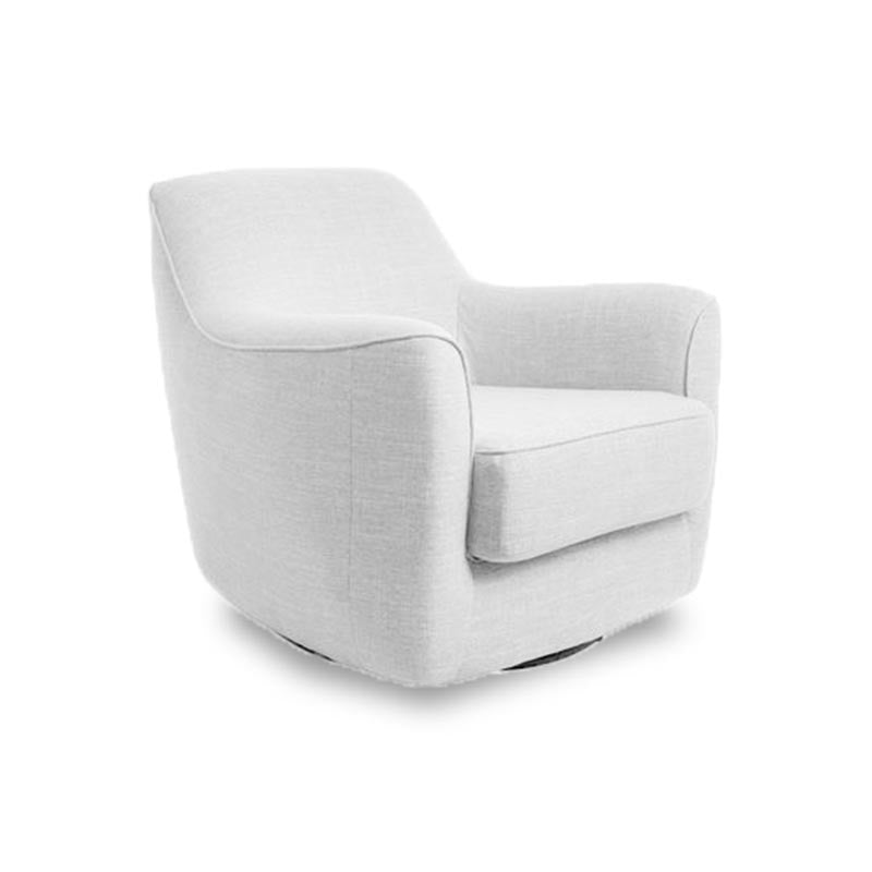 Modern light grey fabric swivel arm chair