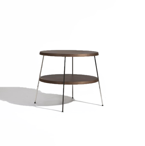 modern round 2 tiered end table with polished stainless steel legs