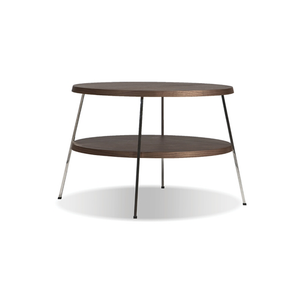 modern large round 2 tiered end table with polished stainless steel legs