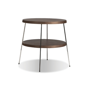 modern small round 2 tiered end table with polished stainless steel legs