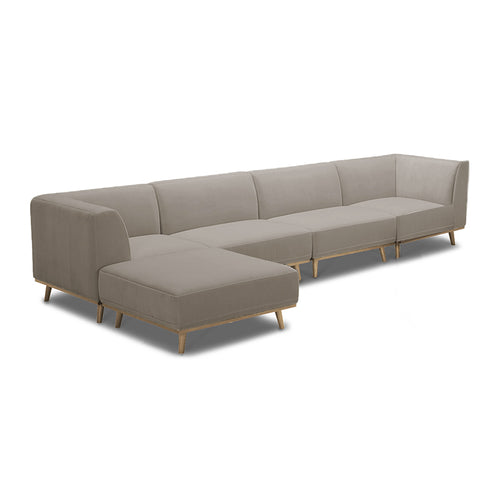 Superb Modern Baltic Taupe Grey Brown 5 Piece Modular Sectional With Angled Golden  Wood Leg