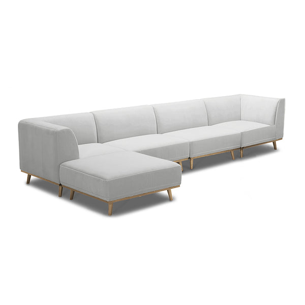 modern baltic taupe grey brown 5 piece modular sectional with angled golden wood leg