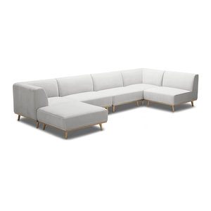 modern khaki beige modular sectional with angled golden wood leg