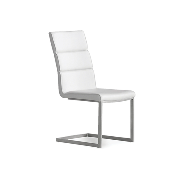 modern white baffle tuft  leatherette dining chair with stainless steel flex frame