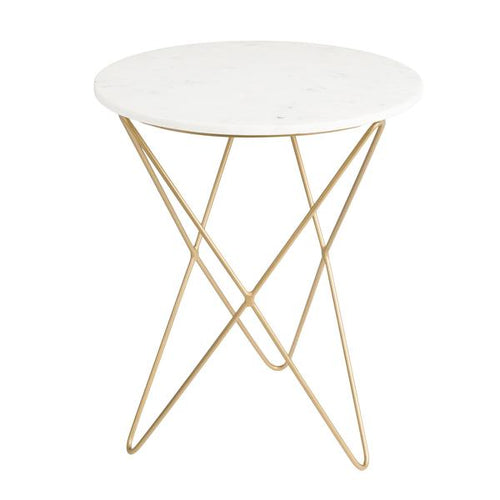 Earth Wind & Fire Marble Side Table - Medium White