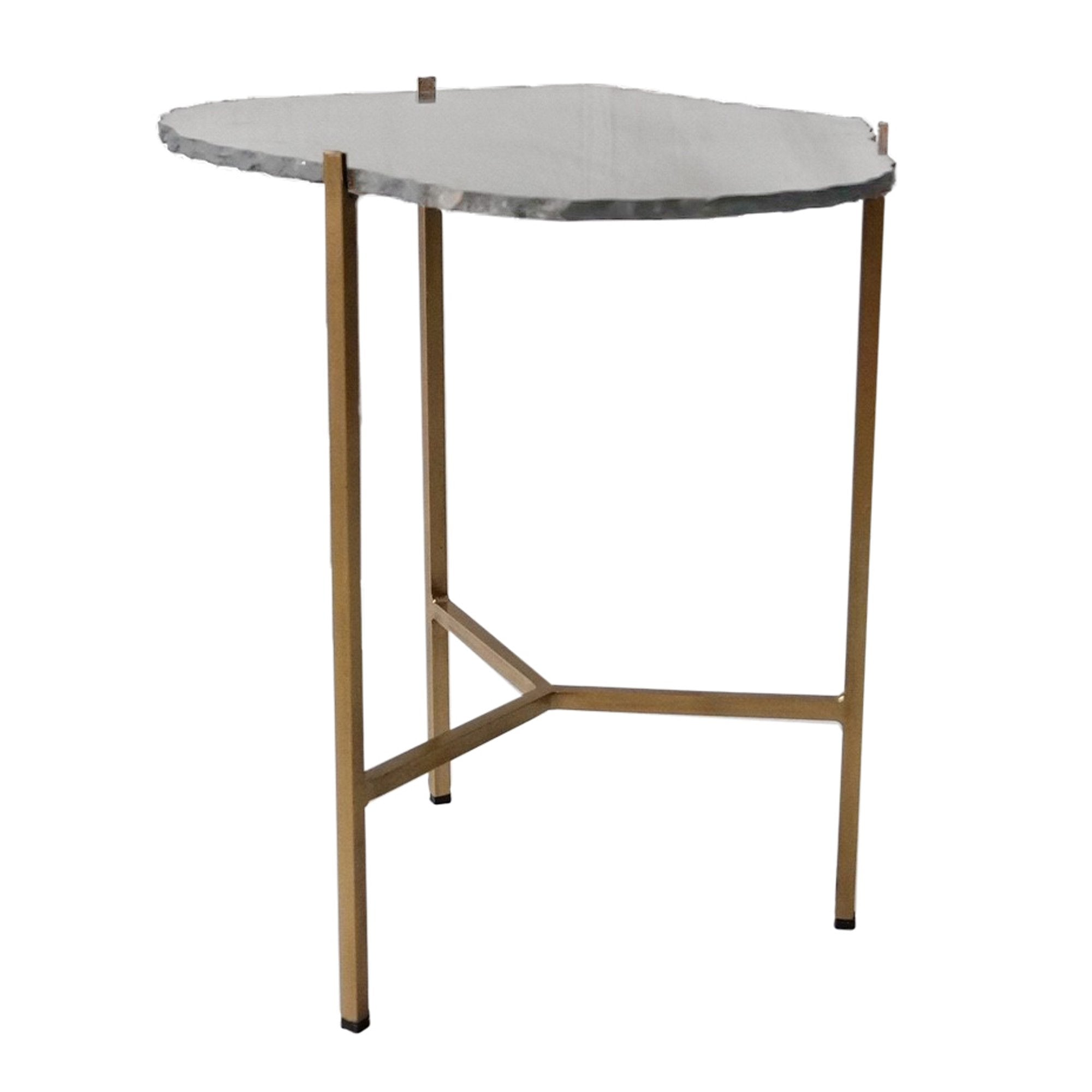 Picture of Earth Wind & Fire Tall Accent Table - Black Slate / Gold Frame