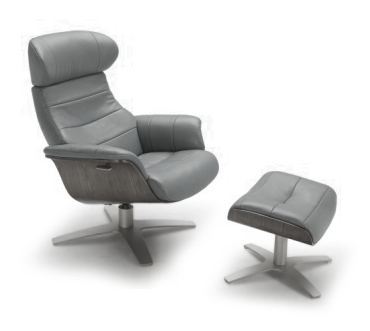 Black modern leather chair and ottoman with grey wood accent and brushed steel base