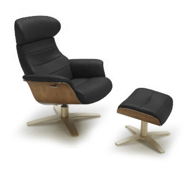 Black modern leather chair and ottoman with walnut accent and gold brushed steel base