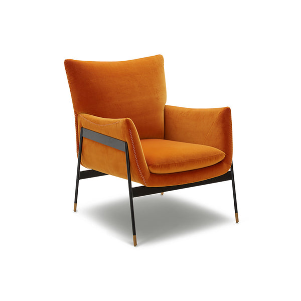 modern amber orange yellow velvet arm chair with black metal frame and wood foot detail