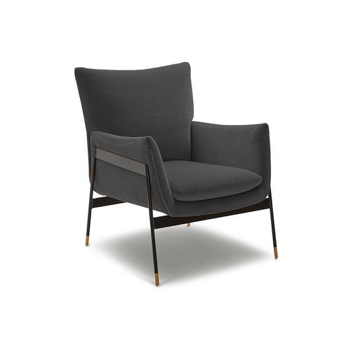 modern grey velvet arm chair with black metal frame and wood foot detail