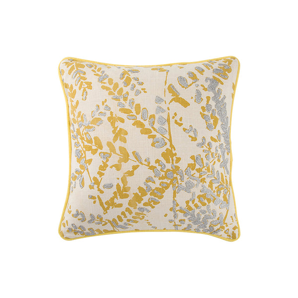Yellow and grey leafy modern cotton pillow