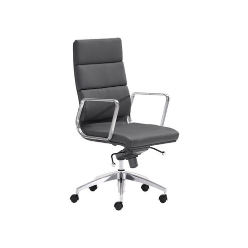 Modern black leatherette adjustable rolling office chair with high back