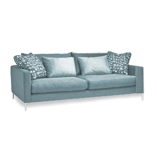 Modern Aqua Blue Green Fabric Sofa with toss cushions and chrome leg