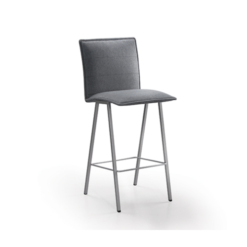 Grey modern fabric upholstered dining chair with grey powder coat metal legs