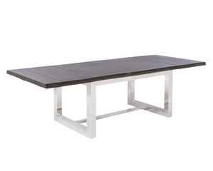 Modern acacia extendable dining table with stainless steel base