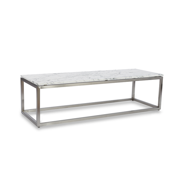 modern carrara marble rectangular coffee table with brushed metal base