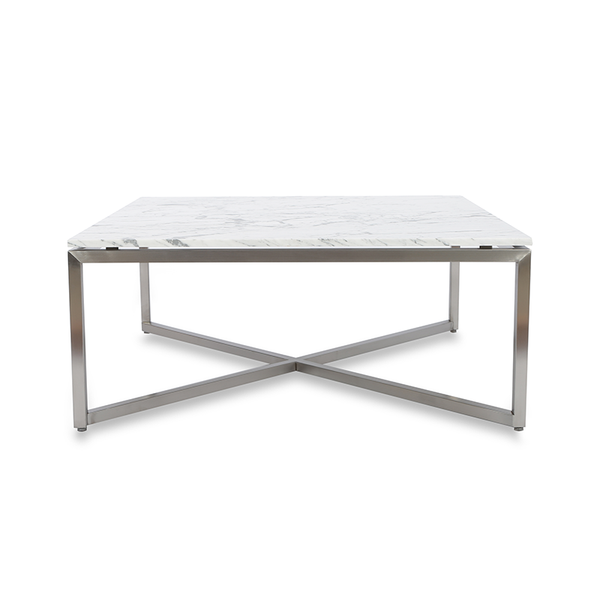 modern white carrara marble square coffee table with brushed metal cross base