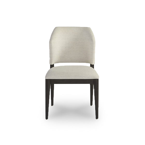 modern cream linen fabric dining chair with dark metal frame
