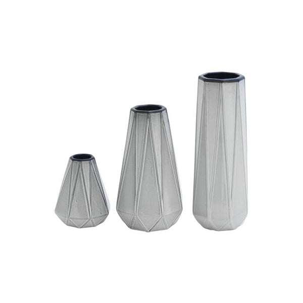 Silver faceted modern ceramic vases