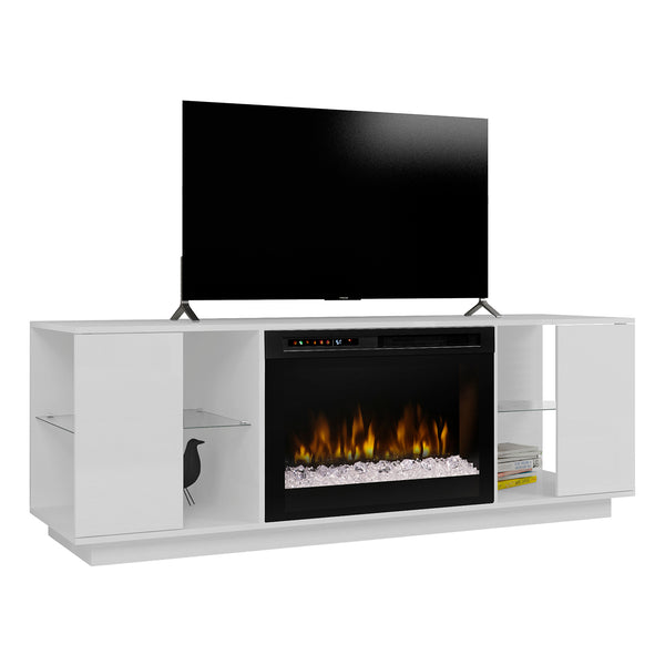 modern white gloss media console fireplace with acrylic ice firbox and glass storage shelves